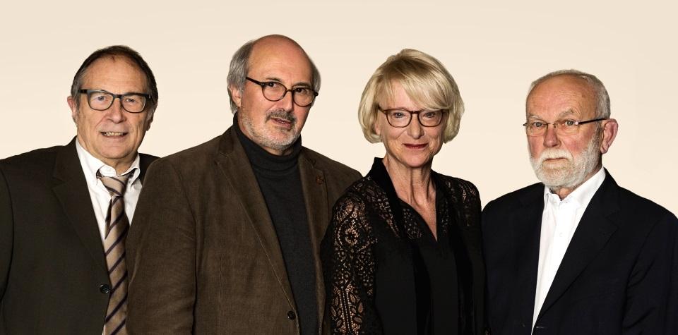 """Autoren der Hörfunk-Reihe """"75 Jahre BRF"""": Frederik Schunck, Klaus-Dieter Klauser, Els Herrebout und Werner Miessen (Bild: Elias Walpot)"""